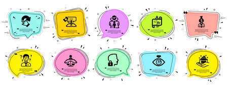 People icons set. Speech bubble offer banners. Vector coupon badge. Included icon as Skin care, Court judge, Manager signs. Family insurance, Journey path, Eye laser symbols. Vector
