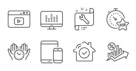 Mobile devices, Safe time and Music making line icons set. Video content, House security and Vip timer signs. Spanner, Loan percent symbols. Smartphone with tablet, Hold clock, Dj app. Vector