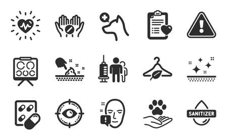 Slow fashion, Vision board and Face attention icons simple set. Eye target, Hand sanitizer and Capsule pill signs. Pets care, Medical tablet and Veterinary clinic symbols. Flat icons set. Vector
