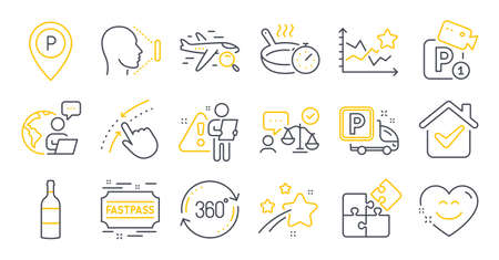 Set of Business icons, such as Face id, Search flight, Lawyer symbols. Puzzle, Ranking stars, Smile chat signs. Parking, Truck parking, Fastpass. Swipe up, Frying pan, Full rotation. Vector Vettoriali