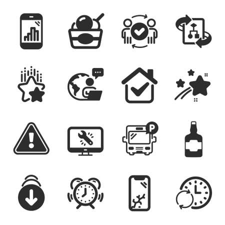 Set of Business icons, such as Monitor repair, Smartphone broken, Time management symbols. Graph phone, Approved teamwork, Bus parking signs. Technical algorithm, Whiskey bottle, Ice cream. Vector Ilustracja