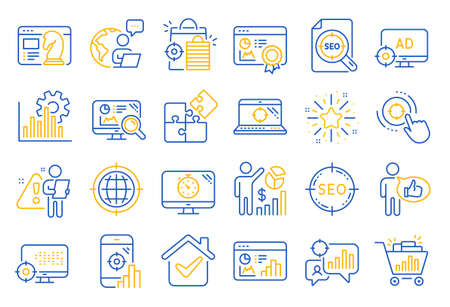 Seo line icons. Set of Increase sales, Business Ad strategy and Website optimization icons. Puzzle, Web seo timer and Analytics increase graph. Search engine, Ad sales pie chart, like icon. Vector