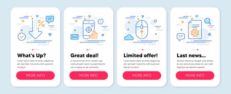 Set of Technology icons, such as Seo phone, Swipe up, Low percent symbols. Mobile screen mockup banners. Technical documentation line icons. Search engine, Scrolling page, Discount. Manual. Vector 矢量图像