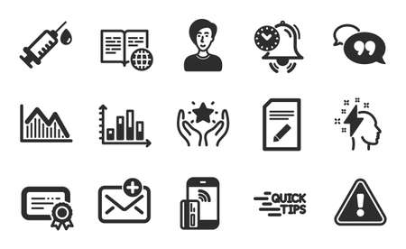 Certificate, Time management and Internet book icons simple set. Investment graph, Ranking and Contactless payment signs. New mail, Quote bubble and Medical syringe symbols. Flat icons set. Vector Ilustracja