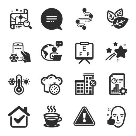Set of Business icons, such as Loan house, Text message, Organic tested symbols. Refrigerator app, Vision board, Thermometer signs. Coffee cup, Search map, Timeline. Report, Healthy face. Vector