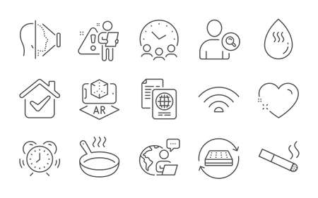 Hot water, Find user and Wifi line icons set. Passport document, Face id and Time management signs. Augmented reality, Mattress and Heart symbols. Smoking, Frying pan and Meeting time. Vector