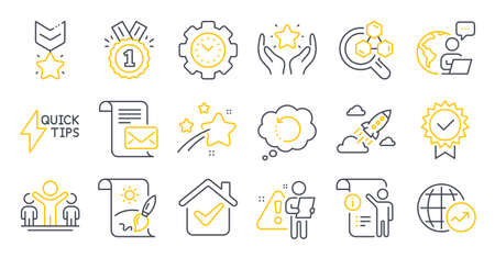 Set of Education icons, such as World statistics, Time management, Startup rocket symbols. Chemistry lab, Recovery data, Creative painting signs. Mail letter, Ranking, Quickstart guide. Vector Ilustracja