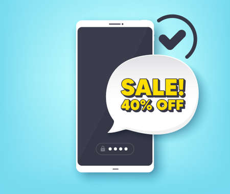 Sale 40% off discount. Mobile phone with alert notification message. Promotion price offer sign. Retail badge symbol. Customer service app banner. Sale badge shape. Vector
