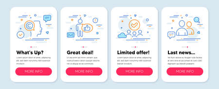 Set of People icons, such as Approved group, Writer, Like symbols. Mobile screen app banners. Users line icons. Teamwork, Copyrighter, Thumbs up. Couple of people. Approved group icons. Vector