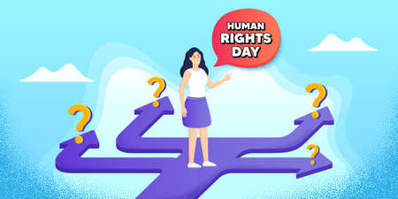 Human rights day message. Future path choice. Search career strategy path. Celebrate a civil day. International society freedom. Directions with question marks. Human rights day banner. Vector Vektorové ilustrace