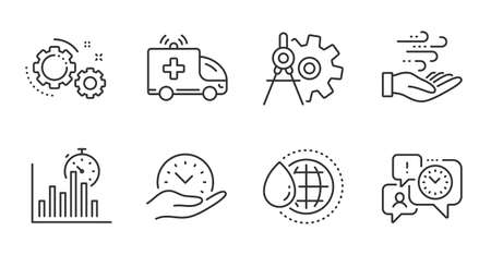 Report timer, Safe time and Wind energy line icons set. Cogwheel dividers, World water and Ambulance car signs. Time management, Gears symbols. Growth chart, Management, Breeze power. Vector
