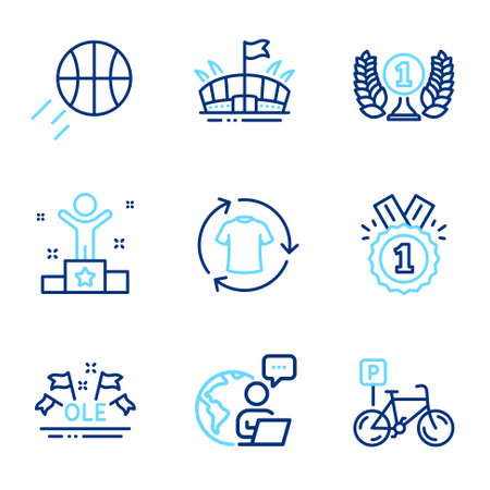 Sports icons set. Included icon as Laureate award, Change clothes, Arena signs. Approved, Bicycle parking, Basketball symbols. Winner, Ole chant line icons. Prize, Shirt. Line icons set. Vector Vecteurs