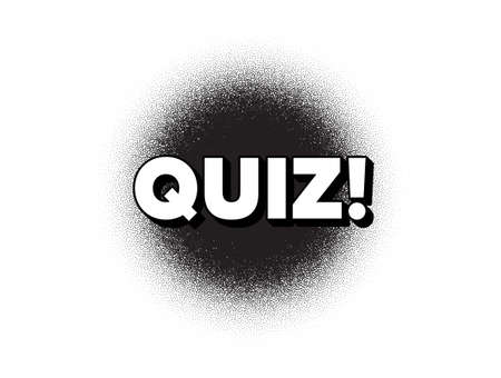 Quiz symbol. Dotwork stain pattern. Stipple dots banner. Answer question sign. Examination test. Abstract dotted circle. Quiz banner. Vector