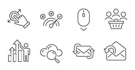 Touchscreen gesture, Buyers and Cloud computing line icons set. Correct answer, Send mail and Scroll down signs. Refresh mail, Employee results symbols. Quality line icons. Vector