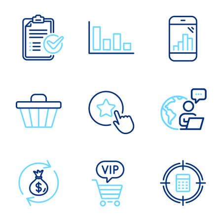 Finance icons set. Included icon as Calculator target, Histogram, Survey checklist signs. Vip shopping, Loyalty star, Shop cart symbols. Money exchange, Graph phone line icons. Line icons set. Vector Ilustracja