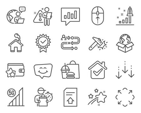 Technology icons set. Included icon as Delivery service, Swipe up, Analytical chat signs. Maximize, Loyalty program, Home symbols. 5g wifi, Certificate, Upload file. Smile chat line icons. Vector 向量圖像