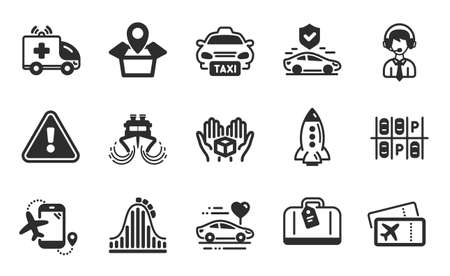 Package location, Ship and Ambulance car icons simple set. Rocket, Flights application and Honeymoon travel signs. Parking place, Hold box and Transport insurance symbols. Flat icons set. Vector