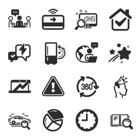 Set of Technology icons, such as Brand ambassador, Sales diagram, Contactless payment symbols. Search book, Search, Time signs. Pie chart, 360 degree, Refrigerator timer. Lightning bolt. Vector Ilustracja