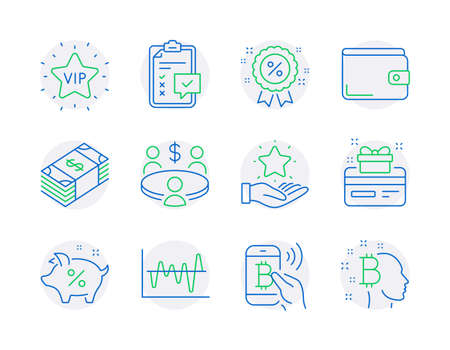 Finance icons set. Included icon as Stock analysis, Bitcoin pay, Usd currency signs. Money wallet, Loyalty program, Checklist symbols. Loyalty card, Discount, Vip star. Meeting line icons. Vector