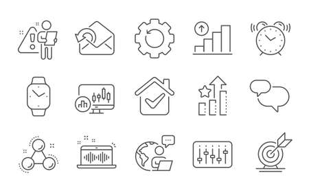 Music making, Candlestick chart and Chemistry molecule line icons set. Smartwatch, Ranking stars and Graph chart signs. Send mail, Target goal and Recovery gear symbols. Line icons set. Vector