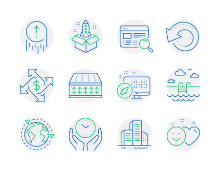 Business icons set. Included icon as Recovery data, Swimming pool, Outsourcing signs. Web system, Website search, Swipe up symbols. Startup, Payment exchange, Flexible mattress. Safe time. Vector Ilustracja
