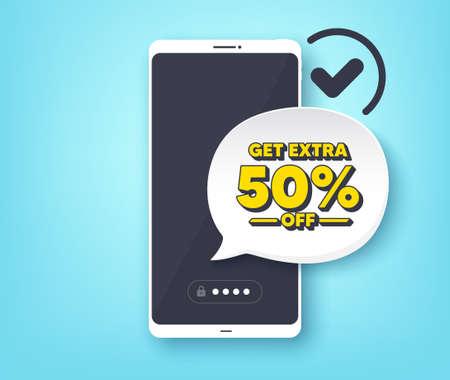 Get Extra 50% off Sale. Mobile phone with alert notification message. Discount offer price sign. Special offer symbol. Save 50 percentages. Customer service app banner. Vector Ilustração