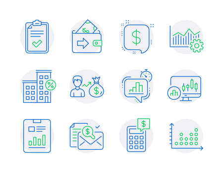 Finance icons set. Included icon as Calculator, Report document, Checklist signs. Statistics timer, Accounting report, Sallary symbols. Loan house, Candlestick chart, Payment message. Vector Ilustracja