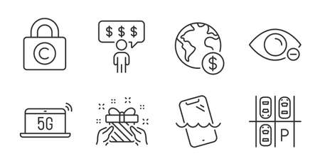 Gift, Myopia and Copyright locker line icons set. Smartphone waterproof, Global business and Employee benefits signs. Parking place, 5g notebook symbols. Quality line icons. Gift badge. Vector