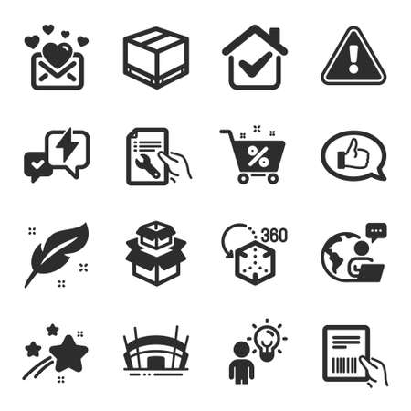 Set of Business icons, such as Augmented reality, Feather, Group people symbols. Feedback, Love mail, Lightning bolt signs. Loan percent, Delivery box, Packing boxes. Repair document. Vector 向量圖像
