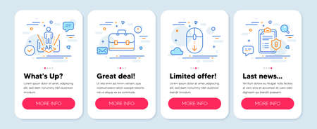 Set of Technology icons, such as Portfolio, Augmented reality, Scroll down symbols. Mobile app mockup banners. Privacy policy line icons. Business case, Phone simulation, Mouse swipe. Vector Ilustracja