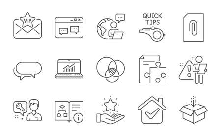 Repairman, Browser window and Get box line icons set. Online statistics, Attachment and Messenger signs. Strategy, Diagram and Tutorials symbols. Line icons set. Vector