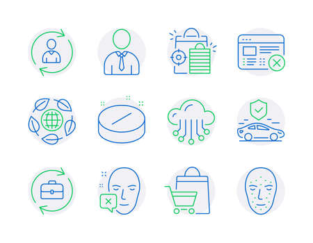 Business icons set. Included icon as Human, Medical tablet, Person info signs. Seo shopping, Reject web, Sale bags symbols. Transport insurance, Human resources, Cloud storage. Eco organic. Vector