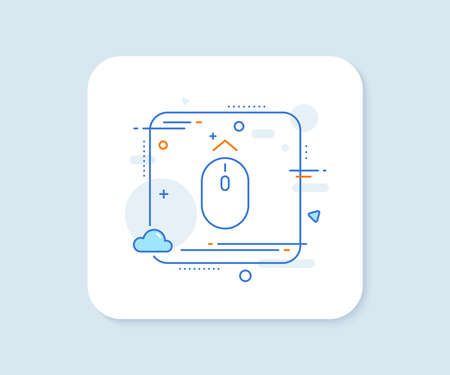 Swipe up mouse line icon. Abstract square vector button. Scrolling arrow sign. Landing page scroll symbol. Swipe up line icon. Quality concept badge. Vector