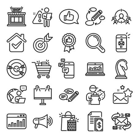 Marketing, research line icons. Set of Strategy target, Feedback, Advertisement campaign icons. Research marketing, Communication and Keywords. Chess Knight, Target, Mail. Business strategy. Vector Ilustracja