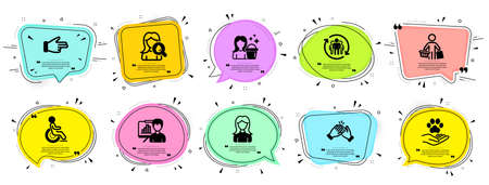 People icons set. Speech bubble offer banners. Vector coupon badge. Included icon as Presentation board, Clapping hands, Pets care signs. Woman, Cleaning, Teamwork symbols. Vector