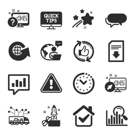 Set of Technology icons, such as Messenger, Truck delivery, Search symbols. Online quiz, Download file, World globe signs. Refresh like, Web system, Time management. Analytical chat. Vector