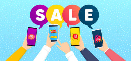 Get free, Sale 50% and Sale bubble promo label set. Banner with mobile phones in hands. Offer tag, Offer banner, Discount banner. Discount shape. Promotional tag set. Vector