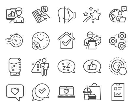 Technology icons set. Included icon as Presentation board, Gears, Web love signs. Click hand, Approved, Love message symbols. Timer, Credit card, Loan percent. Report document, Face id. Vector