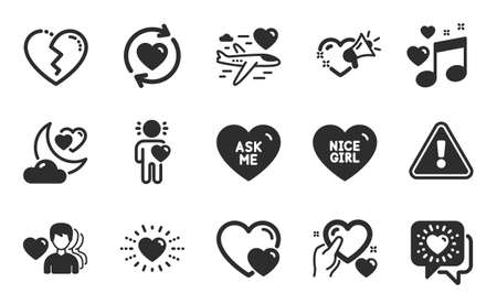 Love night, Hearts and Honeymoon travel icons simple set. Update relationships, Broken heart and Heart signs. Friends chat, Nice girl and Ask me symbols. Friend, Love message. Flat icons set. Vector