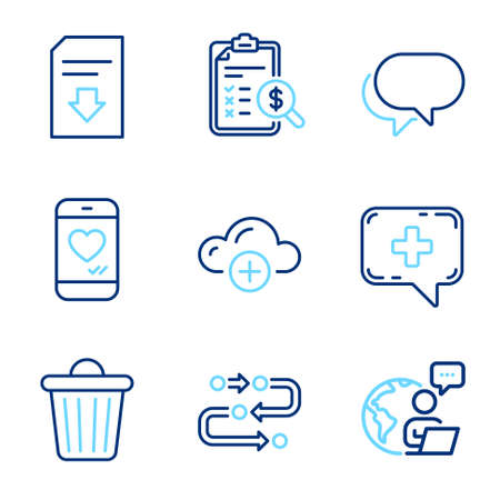Technology icons set. Included icon as Talk bubble, Download file, Trash bin signs. Methodology, Medical chat, Accounting report symbols. Cloud computing, Love chat line icons. Line icons set. Vector Ilustração