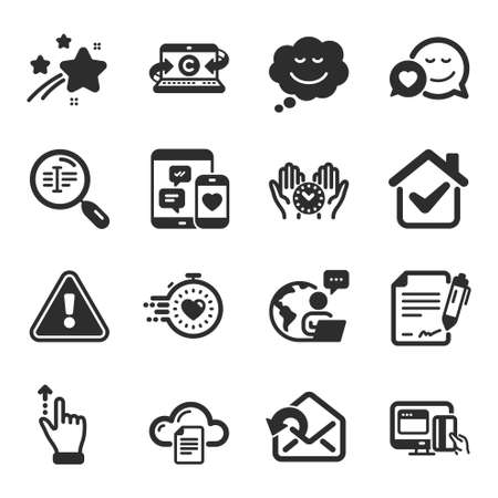 Set of Technology icons, such as Signing document, Send mail, Touchscreen gesture symbols. Speech bubble, Copywriting notebook, Online payment signs. Safe time, File storage, Social media. Vector