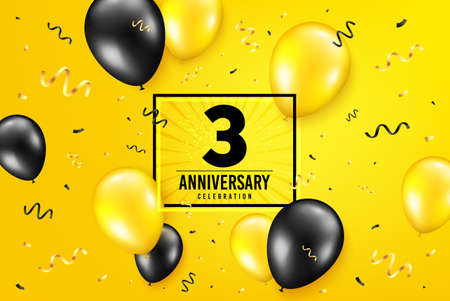3 years anniversary. Anniversary birthday balloon confetti background. Three years celebrating icon. Celebrate yellow banner. Birthday party balloon background. Age in a frame box. Vector