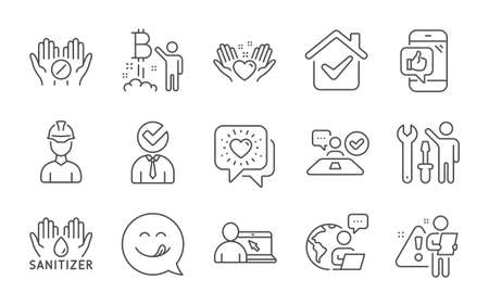 Bitcoin project, Vacancy and Online education line icons set. Yummy smile, Hold heart and Medical tablet signs. Friends chat, Job interview and Repairman symbols. Line icons set. Vector