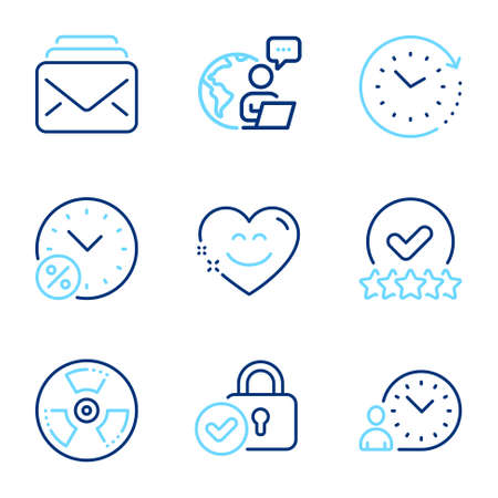 Technology icons set. Included icon as Time change, Time management, Mail signs. Chemical hazard, Smile chat, Rating stars symbols. Loan percent, Verified locker line icons. Line icons set. Vector 矢量图像