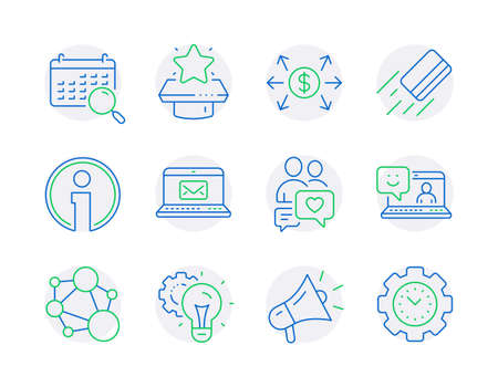 Technology icons set. Included icon as Smile, Dollar exchange, Search calendar signs. E-mail, Credit card, Info symbols. Integrity, Winner podium, Idea gear. Dating chat, Megaphone. Vector Çizim