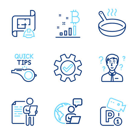 Business icons set. Included icon as Tutorials, Bitcoin graph, Frying pan signs. Service, Parking security, Job interview symbols. Engineering plan, Support consultant line icons. Vector