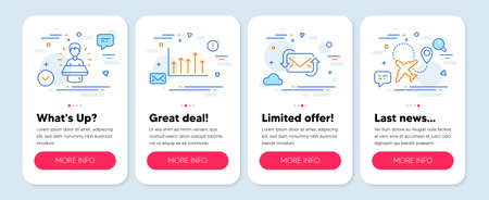 Set of Business icons, such as Brand ambassador, Refresh mail, Growth chart symbols. Mobile screen app banners. Airplane line icons. Man speak, New e-mail, Upper arrows. Plane. Vector Çizim