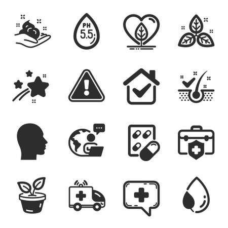 Set of Healthcare icons, such as Capsule pill, Ambulance car, Leaves symbols. Local grown, Anti-dandruff flakes, Skin care signs. Medical chat, Fair trade, Medical insurance. Head. Vector Ilustracja