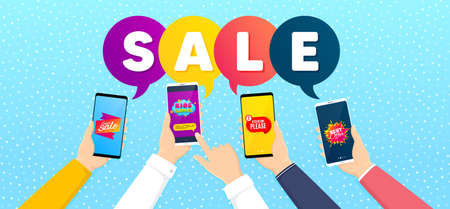 Kids games, Super sale and Attention please promo label set. Banner with mobile phones in hands. Best offer sign. Playing area, Discount tag, Exclamation mark. Flyer shape. Promotional tag set. Vector Çizim