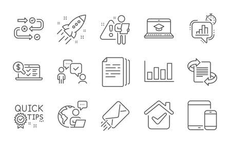 Marketing, E-mail and Online accounting line icons set. Copy documents, Quick tips and Website education signs. Consulting business, Report diagram and Statistics timer symbols. Line icons set. Vector Illustration